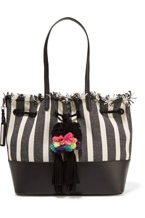 LOEFFLER RANDALL Leather-trimmed frayed striped canvas tote