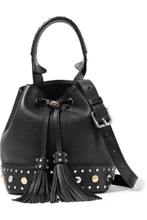 SANDRO Alane studded textured-leather bucket bag