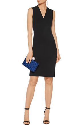 STELLA McCARTNEY Layered woven faux leather and satin box clutch