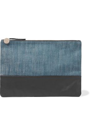CLARE V. Matilde leather-paneled denim clutch