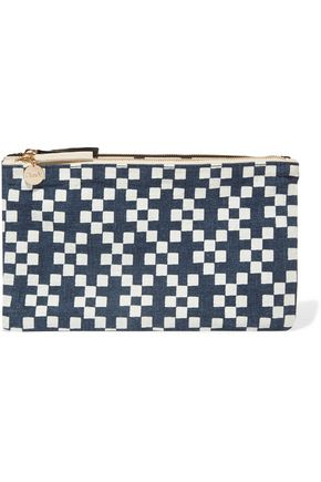 CLARE V. Printed linen-canvas clutch
