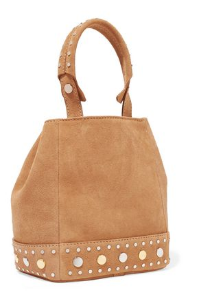 SANDRO Alandra studded suede bucket bag