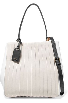 DKNY Striped cotton canvas and leather shoulder bag