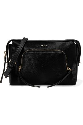 DKNY Two-tone calf hair and leather shoulder bag