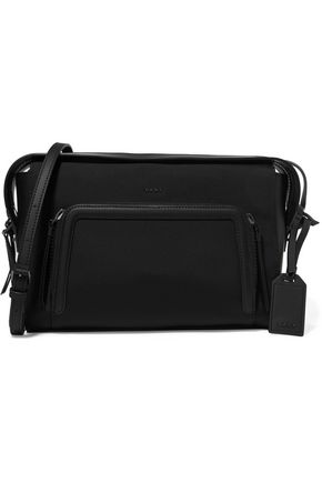 DKNY Leather-trimmed twill and rubber shoulder bag