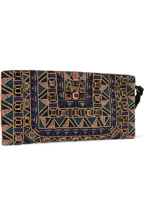 ANTIK BATIK Beaded cotton-twill clutch