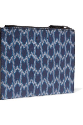 MAJE Printed textured-leather clutch