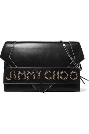 JIMMY CHOO Chain-trimmed leather shoulder bag