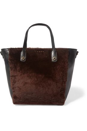 SANDRO Paris Alana leather and shearling tote