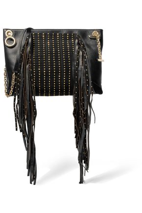 JIMMY CHOO LONDON Leather and embellished suede shoulder bag