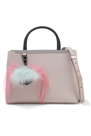 FENDI 2Jours Petite faux feather-embellished leather shoulder bag