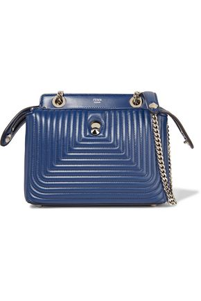FENDI Stud-embellished quilted leather shoulder bag