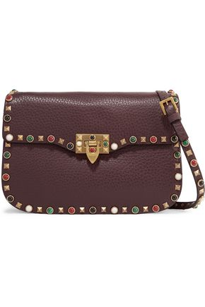VALENTINO Rockstud textured-leather shoulder bag