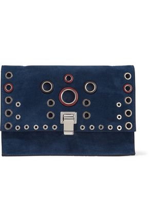 PROENZA SCHOULER Small Lunch Bag eyelet-embellished suede and leather clutch