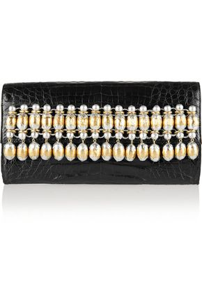 NANCY GONZALEZ Embellished glossed-crocodile clutch
