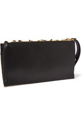 MARNI Embellished glittered leather clutch