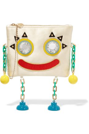CHARLOTTE OLYMPIA Metal Molly embellished satin clutch