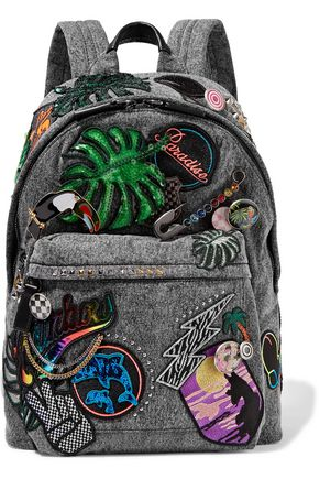 MARC JACOBS Paradise Biker embellished denim backpack