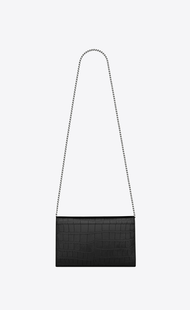 SAINT LAURENT Mini bags Monogramme D chain wallet in black crocodile embossed leather  b_V4