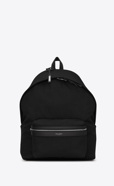 SAINT LAURENT Giant Backpacks Man giant city backpack in black canvas nylon and leather a_V4
