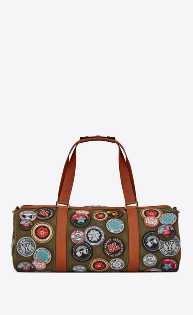 SAINT LAURENT Noé luggages U NOE SAINT LAURENT duffle bag with multicolored patches in khaki gabardine a_V4