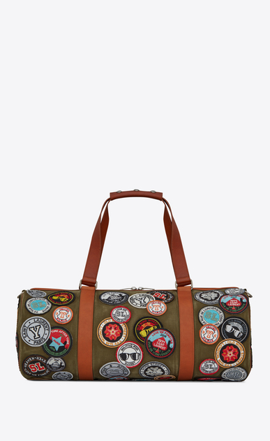 SAINT LAURENT Noé luggages U NOE SAINT LAURENT duffle bag with multicolored patches in khaki gabardine b_V4