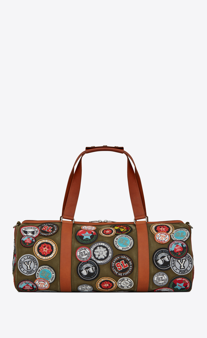 Noe Saint Lau Duffle Bag With Multicolored Patches In Khaki Gabardine Front View
