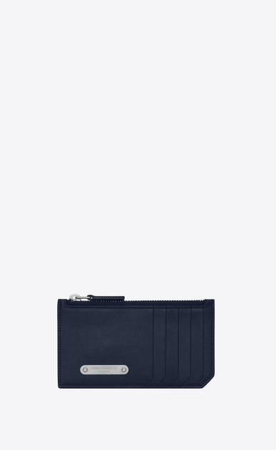 SAINT LAURENT ID SLG U Porta carte FRAGMENTS con zip in pelle blu navy a_V4