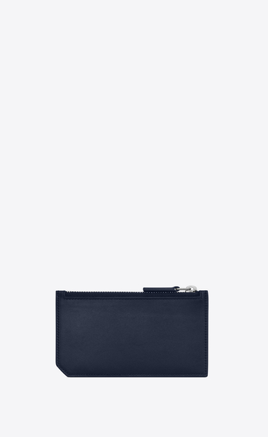 SAINT LAURENT ID SLG U ID FRAGMENTS zipped pouch in navy blue leather b_V4