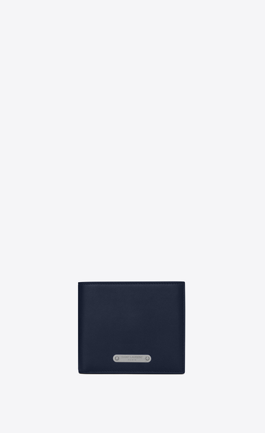 SAINT LAURENT ID SLG Man ID EAST/WEST wallet in navy blue leather a_V4