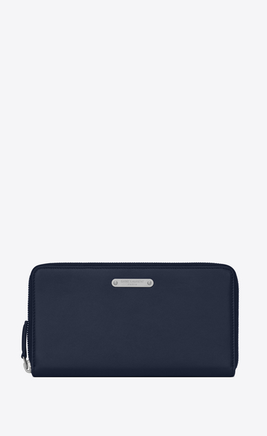 SAINT LAURENT ID SLG Man ID zip around wallet in navy blue leather a_V4