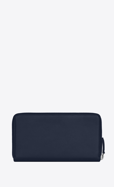 SAINT LAURENT ID SLG Man ID zip around wallet in navy blue leather b_V4
