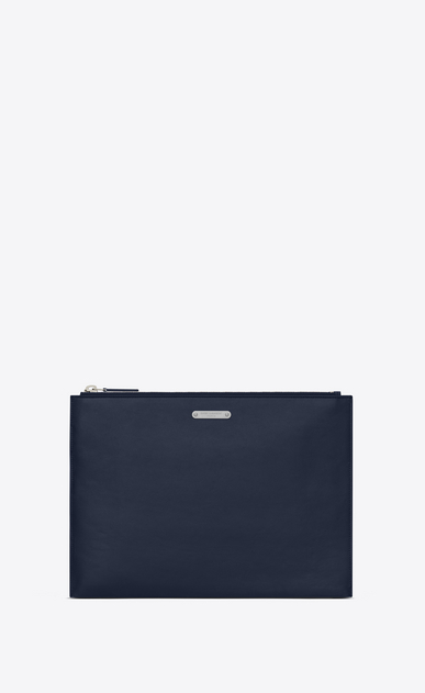SAINT LAURENT ID SLG U Custodia per tablet in pelle blu navy a_V4