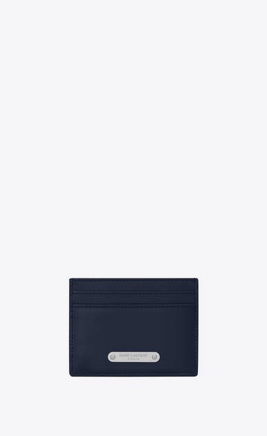 SAINT LAURENT ID SLG U ID card case in navy blue leather a_V4