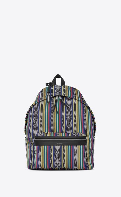 SAINT LAURENT Backpack U CITY backpack in multicolored ikat canvas a_V4