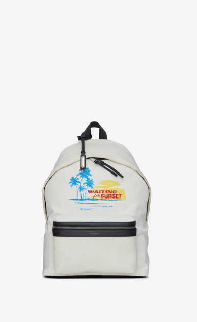 SAINT LAURENT Backpack U CITY WAITING FOR SUNSET backpack in white canvas a_V4