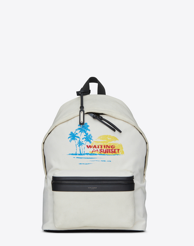 City Waiting For Sunset Backpack In White Canvas