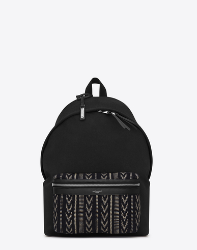 Classic Chevron-Pocket Canvas Backpack, Black