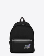 SAINT LAURENT Backpack U CITY backpack in black cotton with zipper and studs f