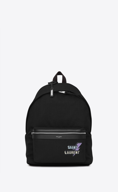 SAINT LAURENT Backpack U CITY backpack in black canvas with zipper and studs a_V4