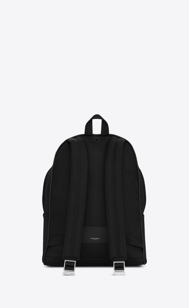 SAINT LAURENT Backpack U CITY backpack in black cotton with zipper and studs b_V4