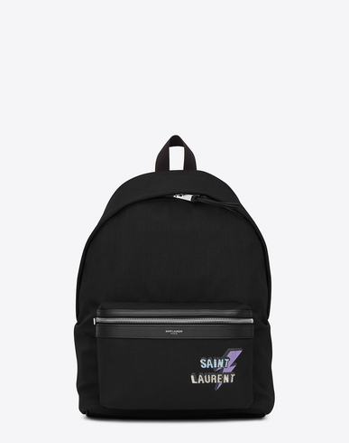 City Backpack In Black Canvas With Zipper And Studs