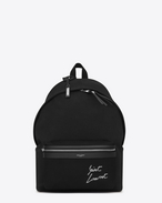 SAINT LAURENT Backpack U CITY backpack embroidered with SAINT LAURENT in black canvas f