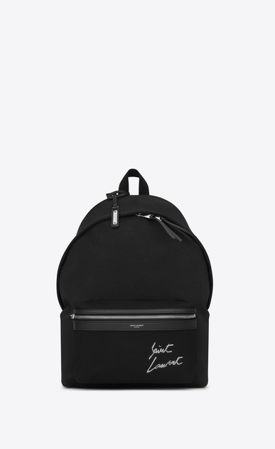 SAINT LAURENT Backpack U CITY backpack embroidered with SAINT LAURENT in black canvas a_V4