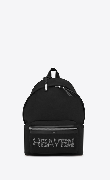 SAINT LAURENT Backpack U CITY backpack embroidered with HEAVEN in black canvas a_V4