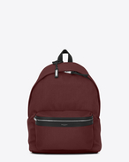 SAINT LAURENT Backpack U CITY backpack in dark red nylon canvas f