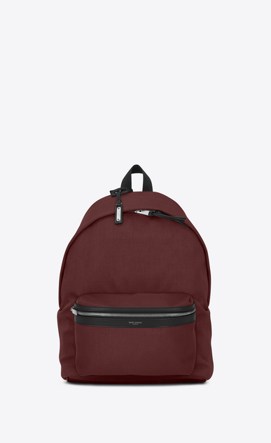 SAINT LAURENT Backpack Man CITY backpack in dark red nylon canvas a_V4