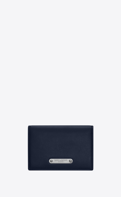 SAINT LAURENT ID SLG U Business card case in navy blue leather a_V4