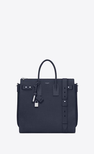 SAINT LAURENT Sac de Jour Men Man North/south SAC DE JOUR SOUPLE holdall in navy blue leather a_V4