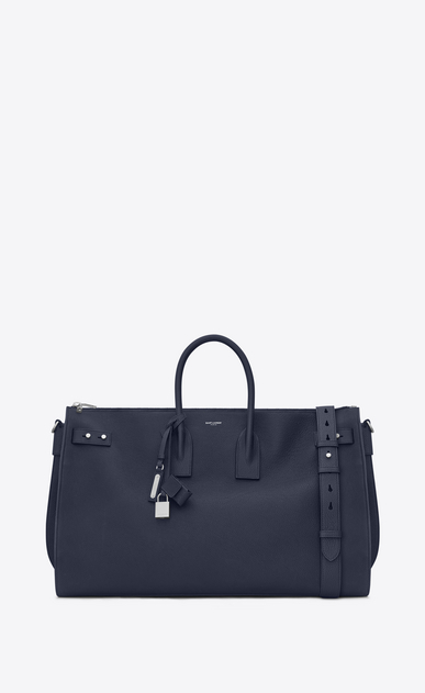 SAINT LAURENT Sac de Jour Men Man Large DUFFLE 48H SAC DE JOUR SOUPLE bag in navy blue grained leather a_V4
